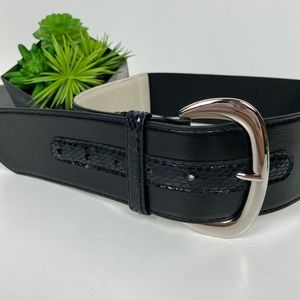 WHBM Thick Leather Belt with elastic back XS